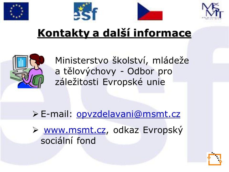 Kontakty a další informace Ministerstvo školství, mládeže a tělovýchovy - Odbor pro záležitosti Evropské unie  E-mail: opvzdelavani@msmt.czopvzdelava