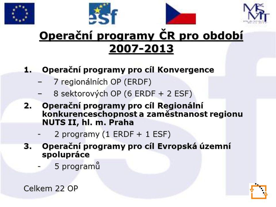 Operační programy ČR pro období 2007-2013 1.Operační programy pro cíl Konvergence –7 regionálních OP (ERDF) –8 sektorových OP (6 ERDF + 2 ESF) 2.Opera