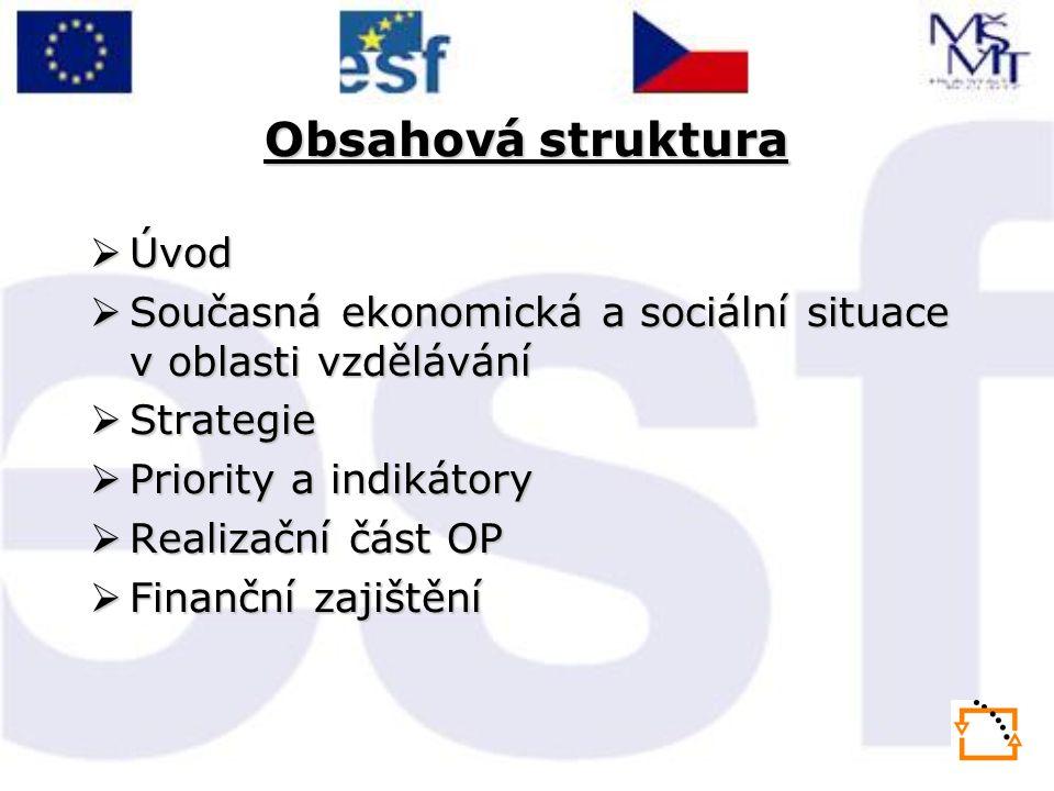 Obsahová struktura  Úvod  Současná ekonomická a sociální situace v oblasti vzdělávání  Strategie  Priority a indikátory  Realizační část OP  Finanční zajištění