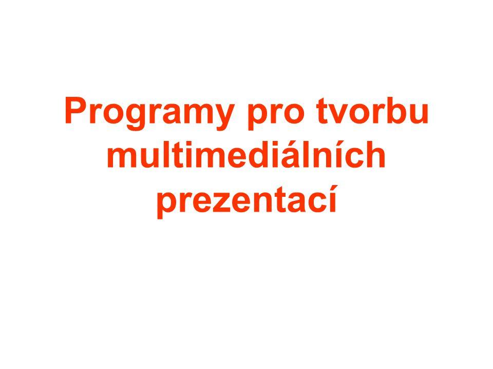 Je velmi těžk é mluvit o programech pro tvorbu multimedi á ln í ch prezentac í, protože každý výběr programu m á subjektivn í charakter a nutně vyvol á v á ot á zku, proč zrovna tento a ne jiný.