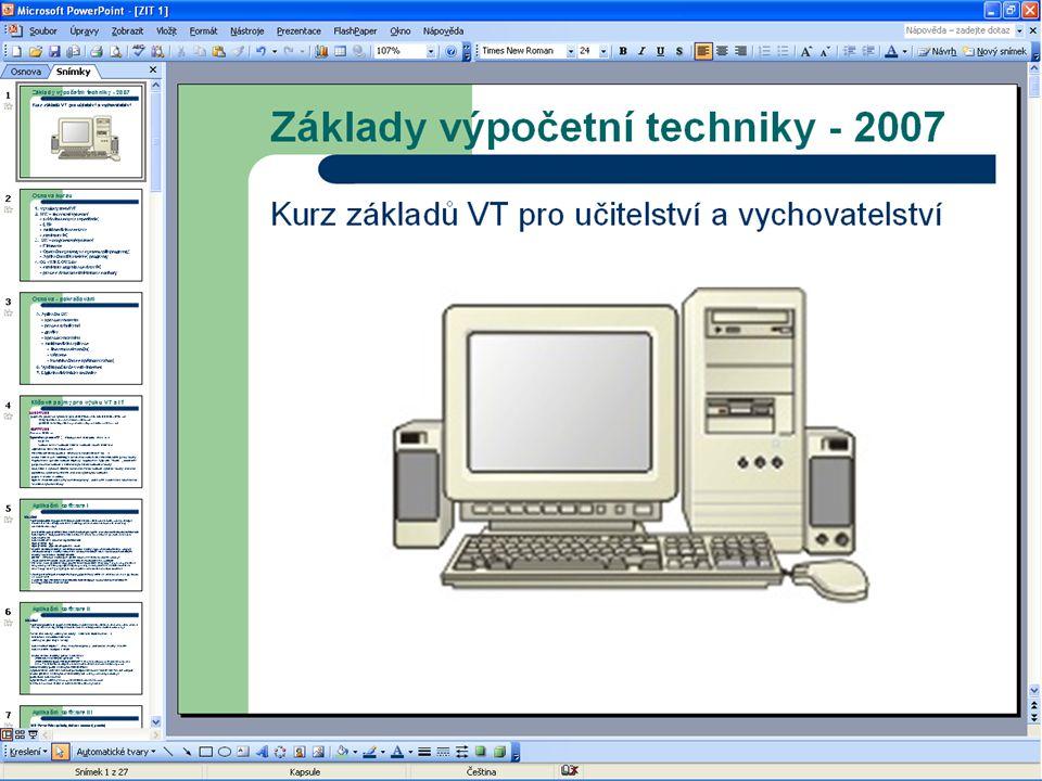 Vytvoření prezentace Po spuštění aplikace PowerPoint můžeme začít vytvářet novou prezentaci.