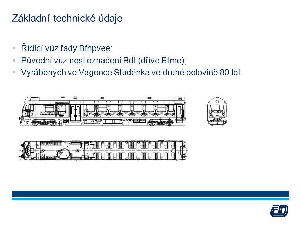 Základní technické údaje  Řídící vůz řady Bfhpvee;  Původní vůz nesl označení Bdt (dříve Btme);  Vyráběných ve Vagonce Studénka ve druhé polovině 8