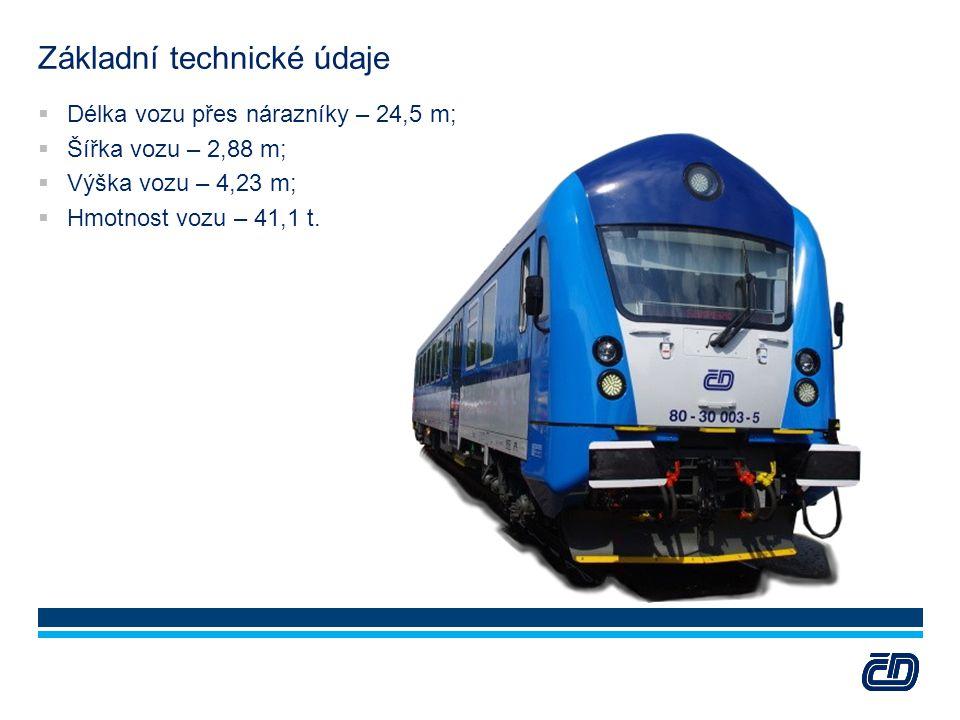 Základní technické údaje  Délka vozu přes nárazníky – 24,5 m;  Šířka vozu – 2,88 m;  Výška vozu – 4,23 m;  Hmotnost vozu – 41,1 t.