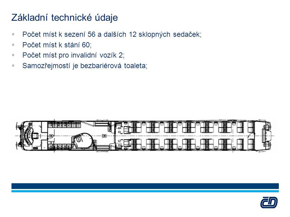 Základní technické údaje  Počet míst k sezení 56 a dalších 12 sklopných sedaček;  Počet míst k stání 60;  Počet míst pro invalidní vozík 2;  Samoz