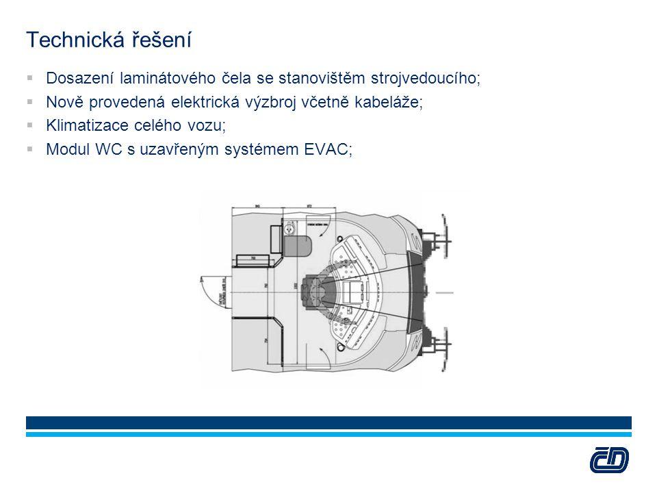 Technická řešení  Dosazení laminátového čela se stanovištěm strojvedoucího;  Nově provedená elektrická výzbroj včetně kabeláže;  Klimatizace celého