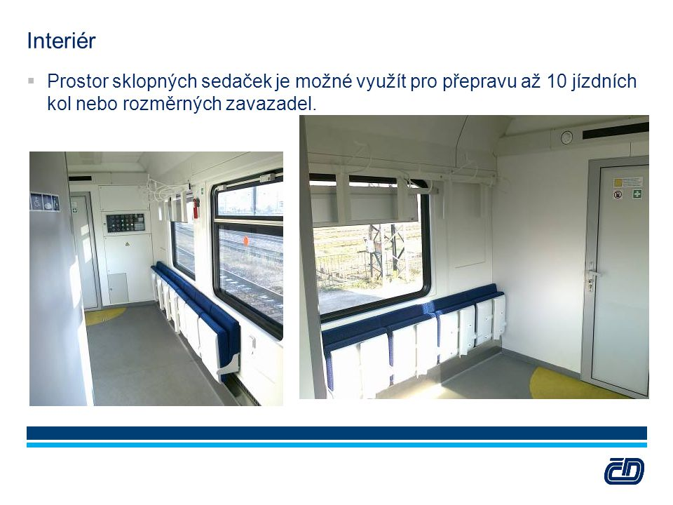 Interiér  Prostor sklopných sedaček je možné využít pro přepravu až 10 jízdních kol nebo rozměrných zavazadel.