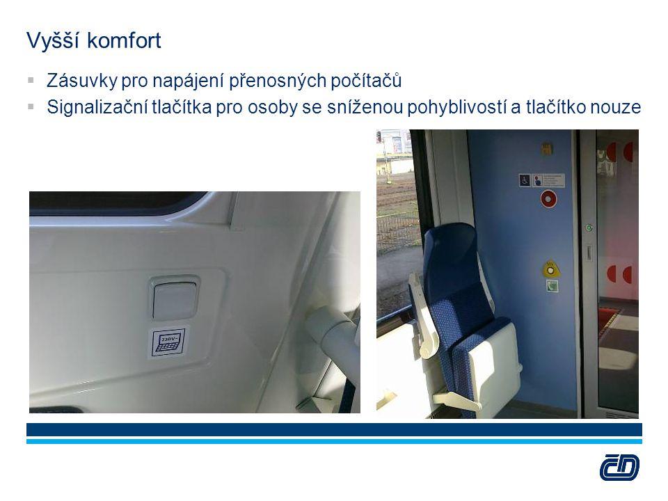Vyšší komfort  Zásuvky pro napájení přenosných počítačů  Signalizační tlačítka pro osoby se sníženou pohyblivostí a tlačítko nouze