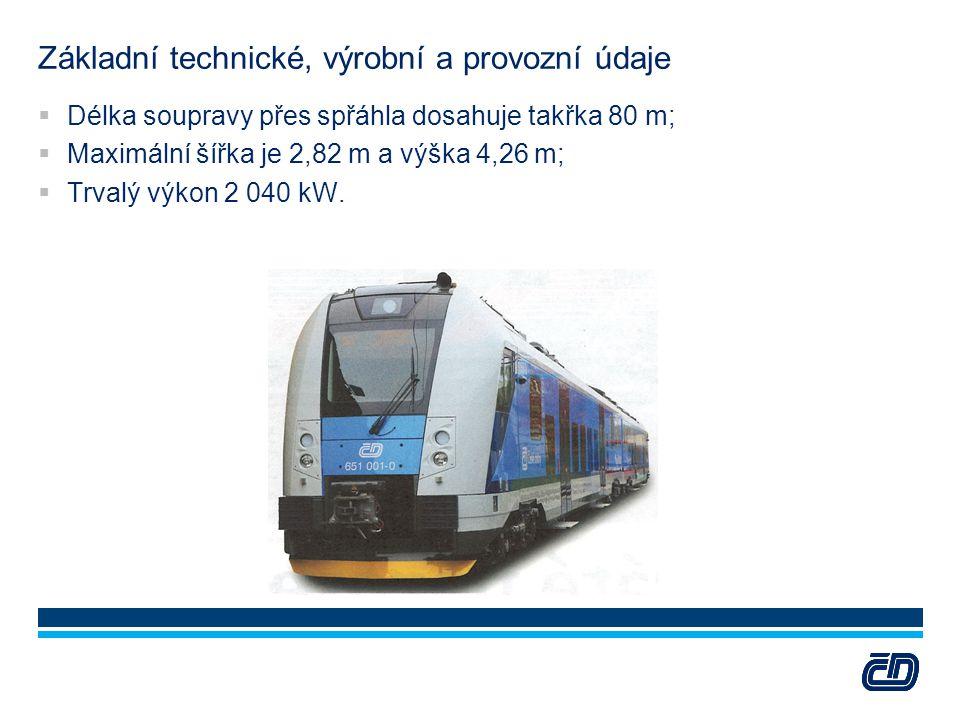 Základní technické, výrobní a provozní údaje  Délka soupravy přes spřáhla dosahuje takřka 80 m;  Maximální šířka je 2,82 m a výška 4,26 m;  Trvalý
