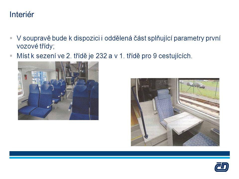 Interiér  V soupravě bude k dispozici i oddělená část splňující parametry první vozové třídy;  Míst k sezení ve 2. třídě je 232 a v 1. třídě pro 9 c