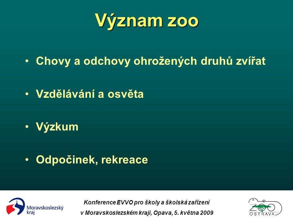 Konference EVVO pro školy a školská zařízení v Moravskoslezském kraji, Opava, 5. května 2009 Význam zoo •Chovy a odchovy ohrožených druhů zvířat •Vzdě