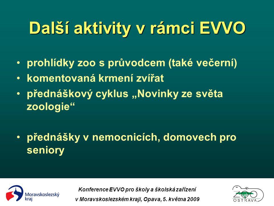 Konference EVVO pro školy a školská zařízení v Moravskoslezském kraji, Opava, 5. května 2009 Další aktivity v rámci EVVO •prohlídky zoo s průvodcem (t