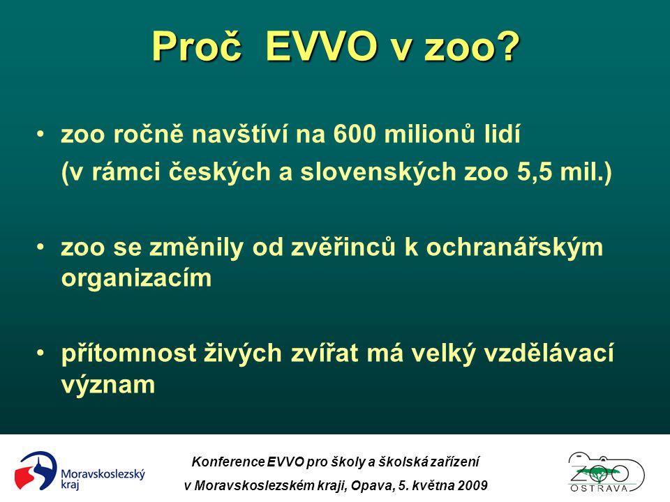 Konference EVVO pro školy a školská zařízení v Moravskoslezském kraji, Opava, 5. května 2009 Proč EVVO v zoo? •zoo ročně navštíví na 600 milionů lidí