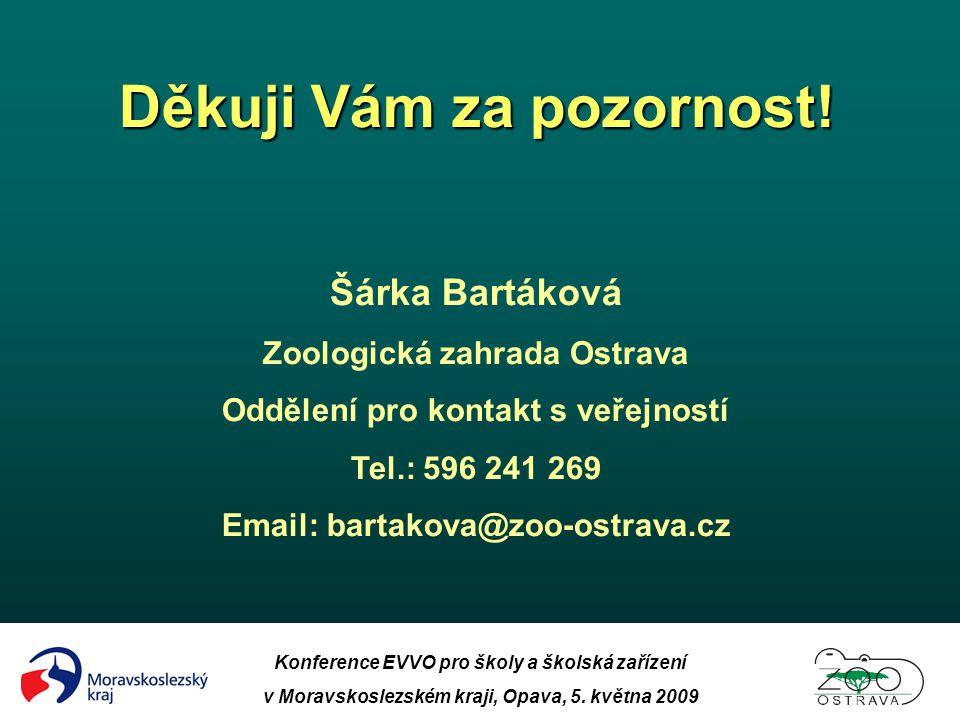 Konference EVVO pro školy a školská zařízení v Moravskoslezském kraji, Opava, 5. května 2009 Děkuji Vám za pozornost! Šárka Bartáková Zoologická zahra