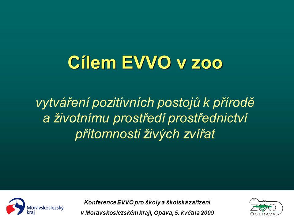 Konference EVVO pro školy a školská zařízení v Moravskoslezském kraji, Opava, 5. května 2009 Cílem EVVO v zoo Cílem EVVO v zoo vytváření pozitivních p