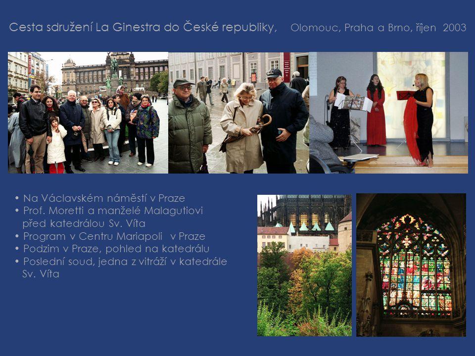 Cesta sdružení La Ginestra do České republiky, Olomouc, Praha a Brno, říjen 2003 • Na Václavském náměstí v Praze • Prof.