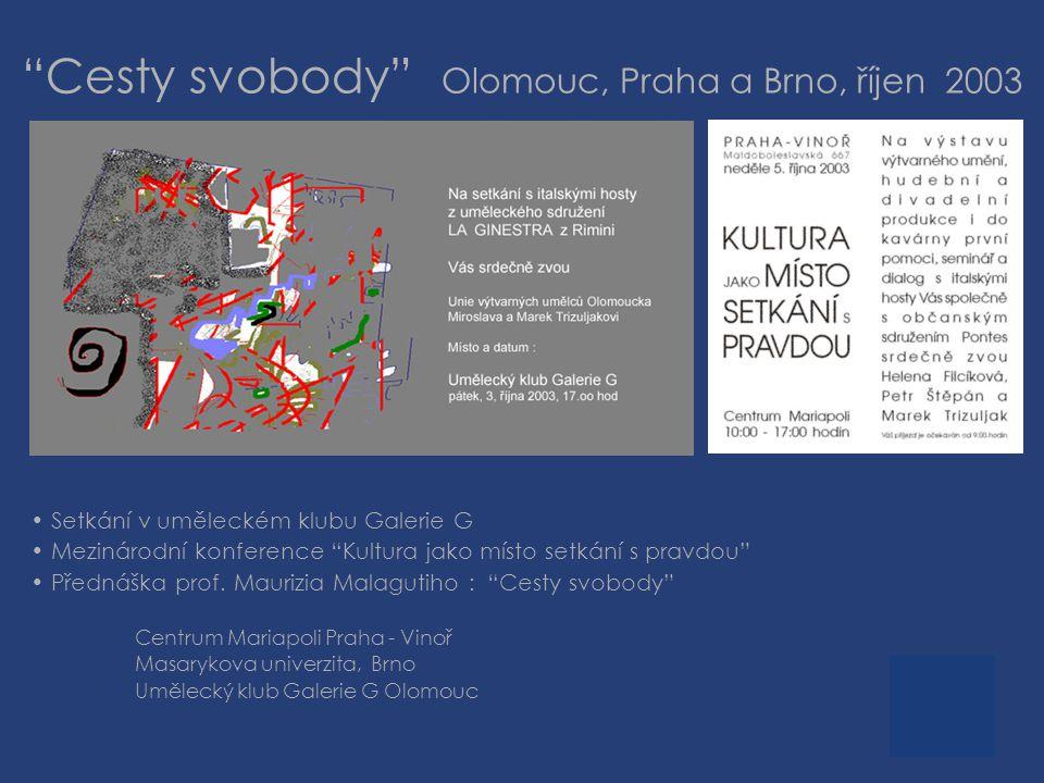 Cesty svobody Olomouc, Praha a Brno, říjen 2003 • Setkání v uměleckém klubu Galerie G • Mezinárodní konference Kultura jako místo setkání s pravdou • Přednáška prof.