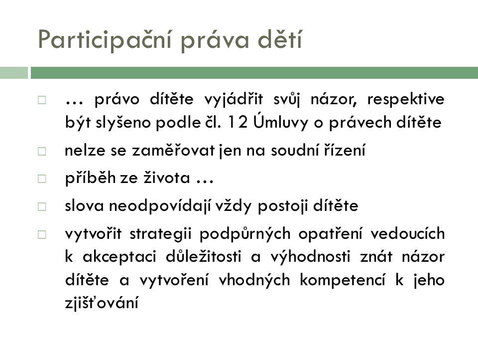 Participační práva dětí  … právo dítěte vyjádřit svůj názor, respektive být slyšeno podle čl.