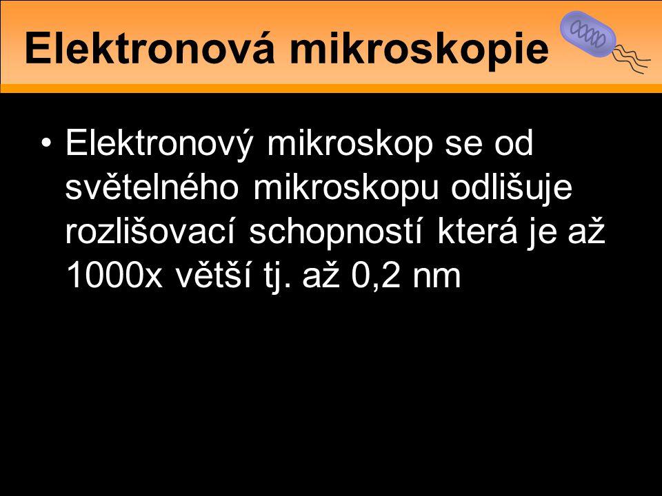 •Elektronový mikroskop se od světelného mikroskopu odlišuje rozlišovací schopností která je až 1000x větší tj. až 0,2 nm Elektronová mikroskopie