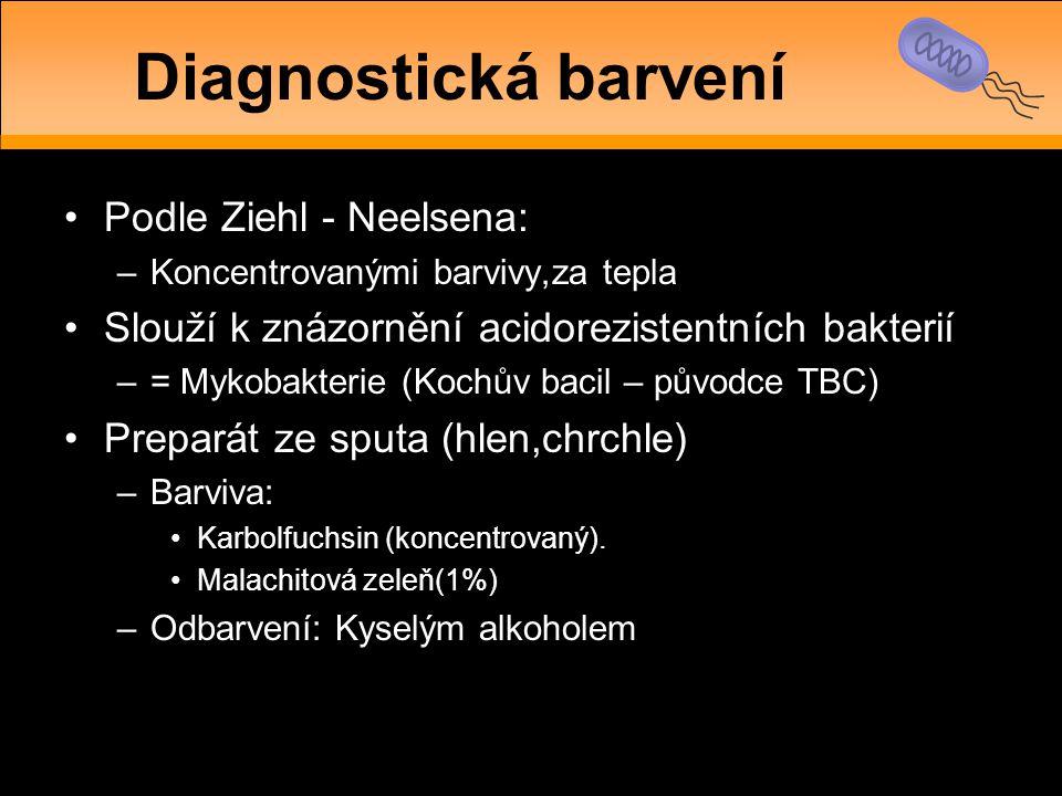 •Podle Ziehl - Neelsena: –Koncentrovanými barvivy,za tepla •Slouží k znázornění acidorezistentních bakterií –= Mykobakterie (Kochův bacil – původce TB