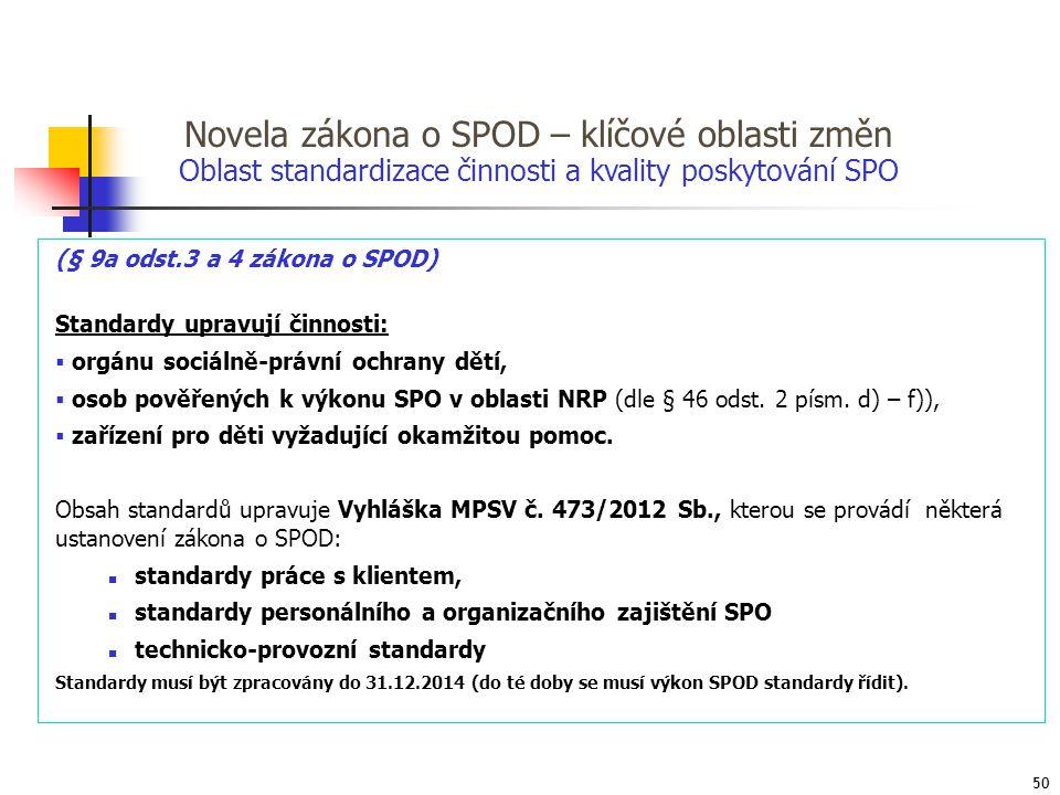 Novela zákona o SPOD – klíčové oblasti změn (§ 9a odst.3 a 4 zákona o SPOD) Standardy upravují činnosti:  orgánu sociálně-právní ochrany dětí,  osob