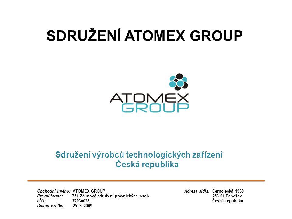 Sdružení výrobců technologických zařízení Česká republika SDRUŽENÍ ATOMEX GROUP Obchodní jméno: ATOMEX GROUP Adresa sídla: Černoleská 1930 Právní form