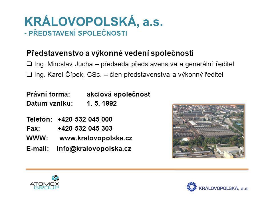 KRÁLOVOPOLSKÁ, a.s.- PŘEDSTAVENÍ SPOLEČNOSTI Představenstvo a výkonné vedení společnosti  Ing.