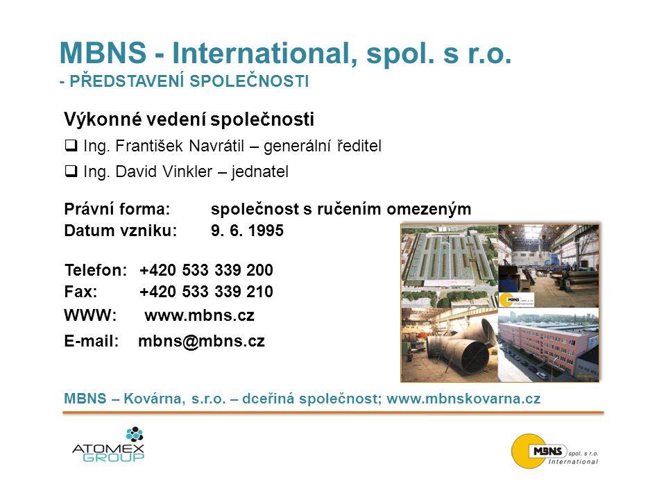 MBNS - International, spol. s r.o. - PŘEDSTAVENÍ SPOLEČNOSTI Výkonné vedení společnosti  Ing. František Navrátil – generální ředitel  Ing. David Vin