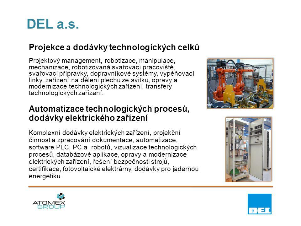DEL a.s. Projekce a dodávky technologických celků Projektový management, robotizace, manipulace, mechanizace, robotizovaná svařovací pracoviště, svařo