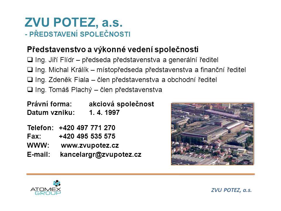 ZVU POTEZ, a.s.- PŘEDSTAVENÍ SPOLEČNOSTI Představenstvo a výkonné vedení společnosti  Ing.