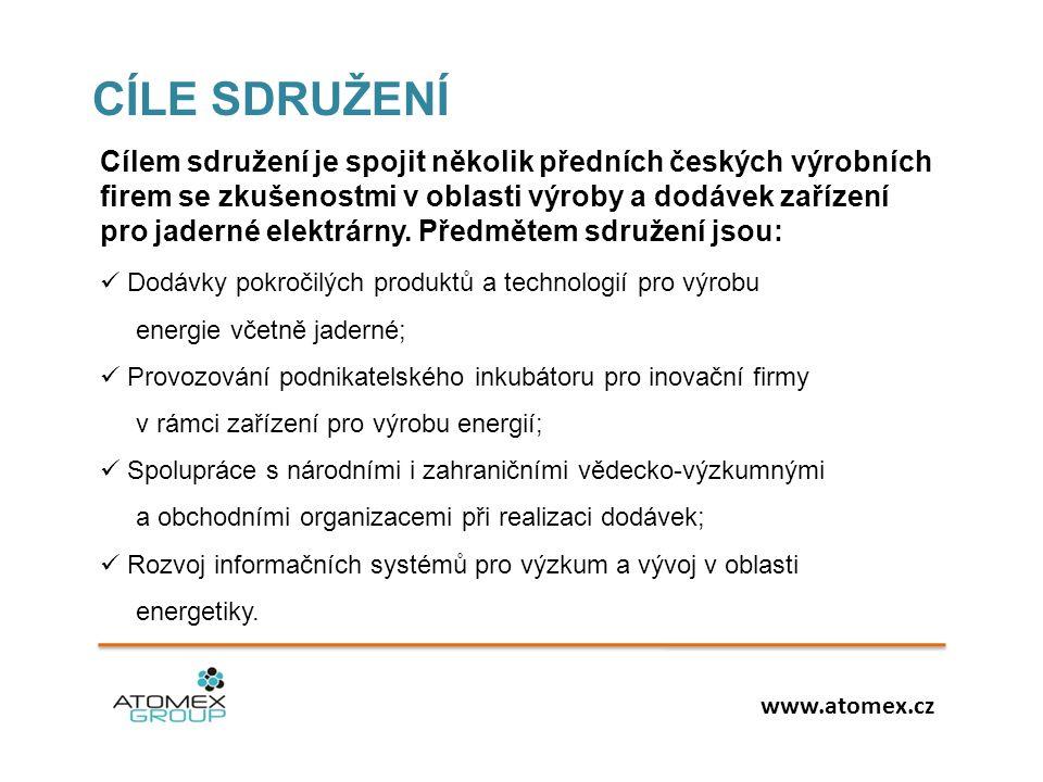  Dodávky pokročilých produktů a technologií pro výrobu energie včetně jaderné;  Provozování podnikatelského inkubátoru pro inovační firmy v rámci za