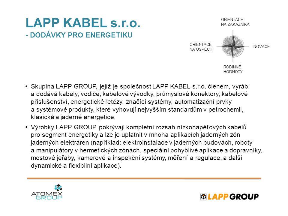 LAPP KABEL s.r.o. - DODÁVKY PRO ENERGETIKU •Skupina LAPP GROUP, jejíž je společnost LAPP KABEL s.r.o. členem, vyrábí a dodává kabely, vodiče, kabelové
