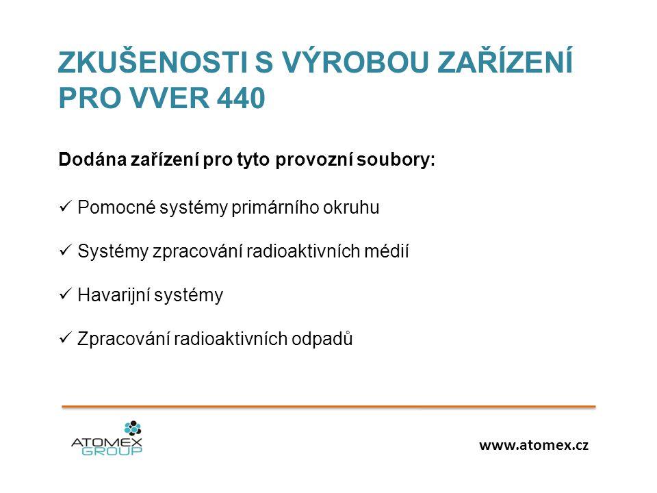 ZKUŠENOSTI S VÝROBOU ZAŘÍZENÍ PRO VVER 440 Dodána zařízení pro tyto provozní soubory:  Pomocné systémy primárního okruhu  Systémy zpracování radioaktivních médií  Havarijní systémy  Zpracování radioaktivních odpadů www.atomex.cz
