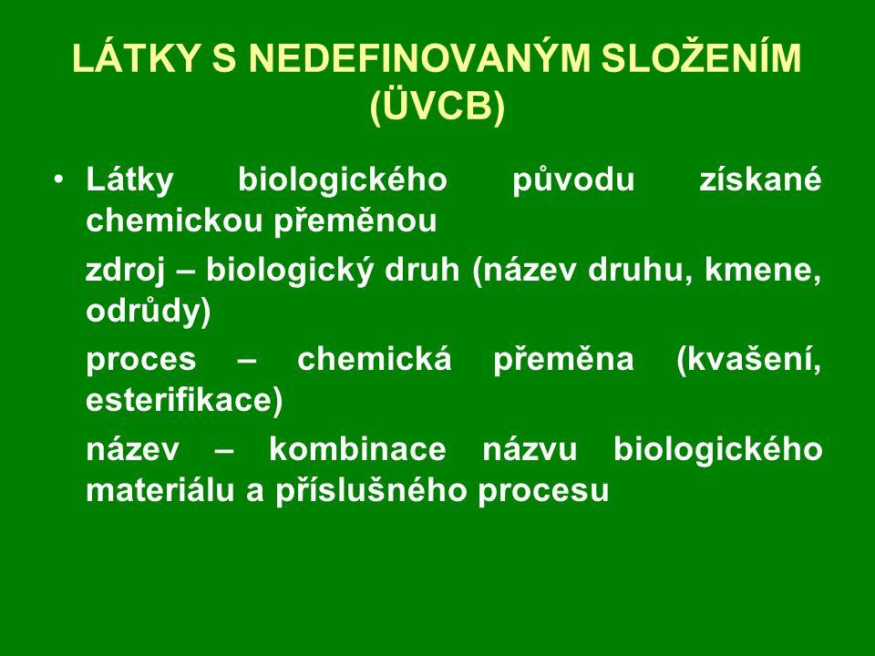 LÁTKY S NEDEFINOVANÝM SLOŽENÍM (ÜVCB) •Látky biologického původu získané chemickou přeměnou zdroj – biologický druh (název druhu, kmene, odrůdy) proces – chemická přeměna (kvašení, esterifikace) název – kombinace názvu biologického materiálu a příslušného procesu