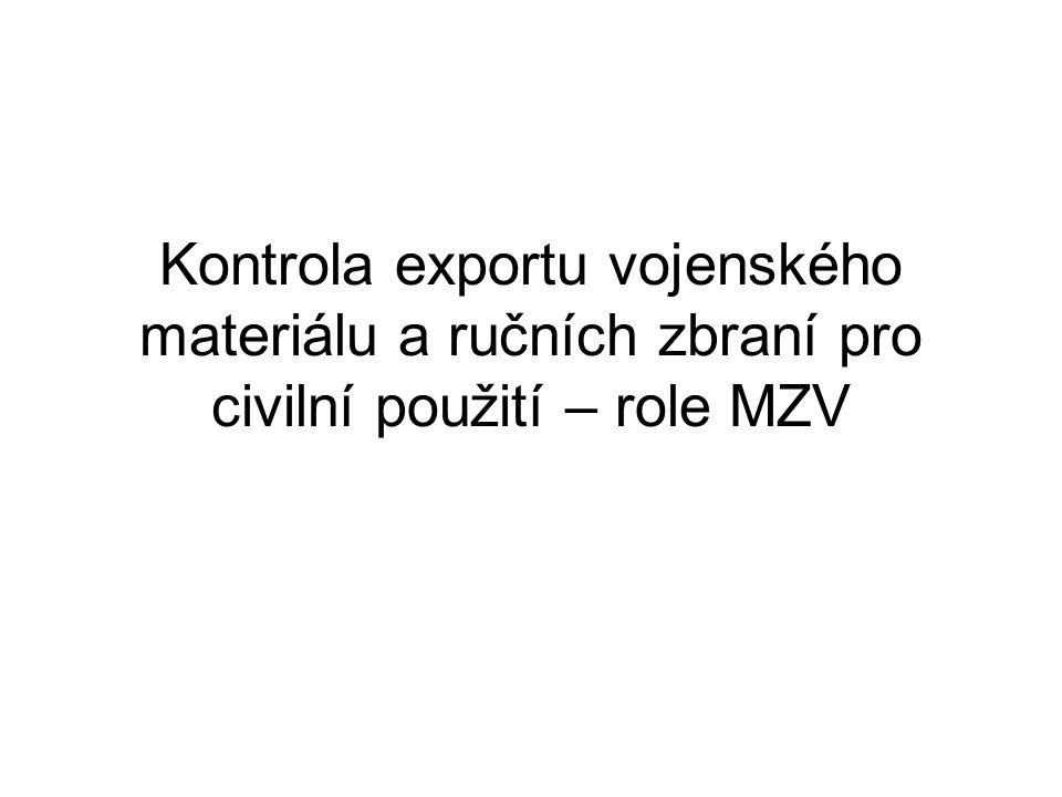 Kontrola exportu vojenského materiálu a ručních zbraní pro civilní použití – role MZV