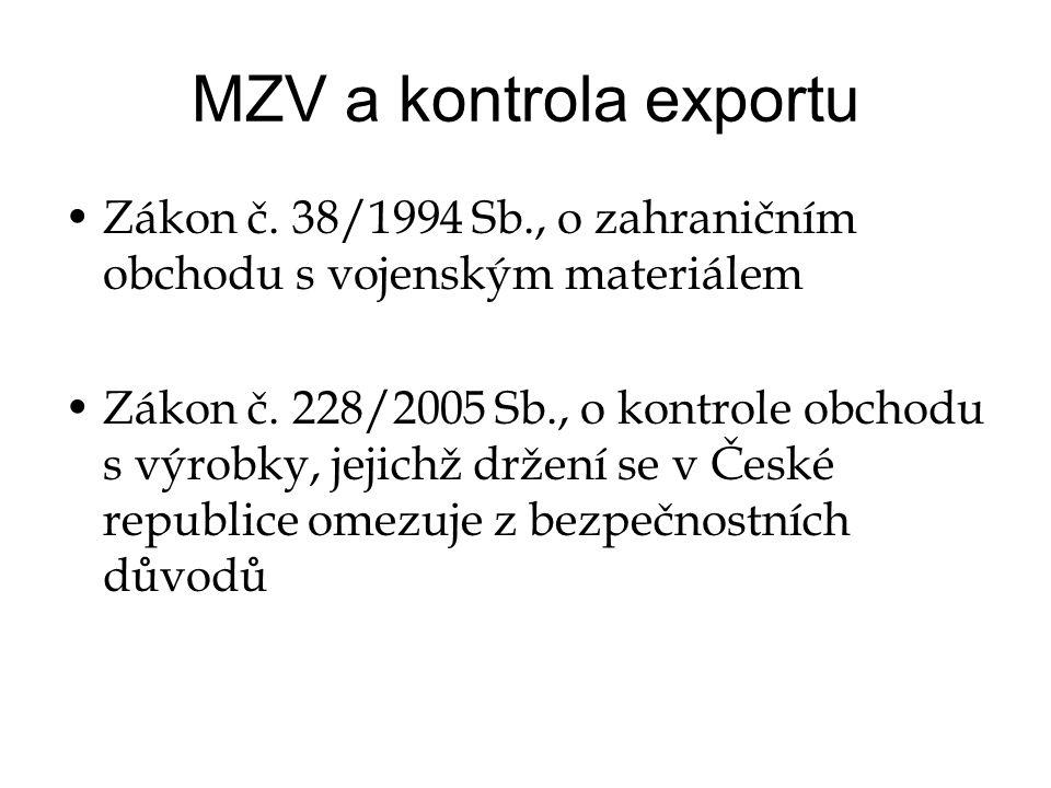 MZV a kontrola exportu •Zákon č.