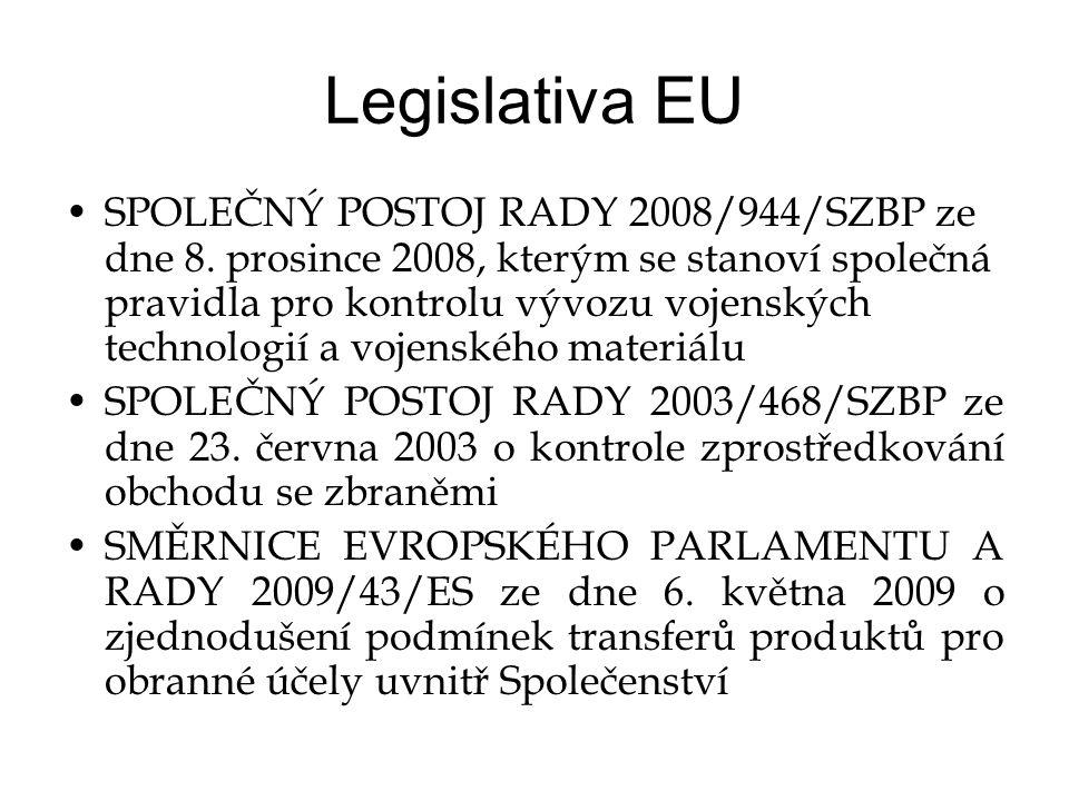Legislativa EU •SPOLEČNÝ POSTOJ RADY 2008/944/SZBP ze dne 8.