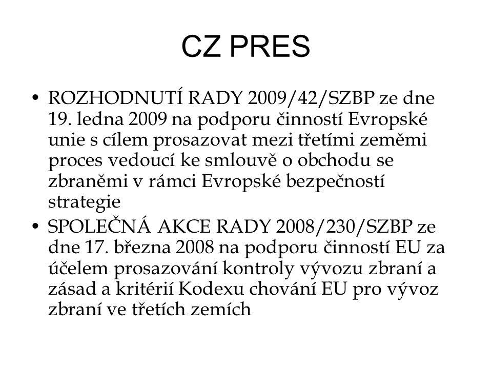 CZ PRES •ROZHODNUTÍ RADY 2009/42/SZBP ze dne 19.