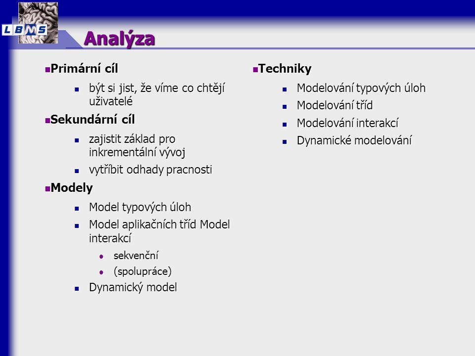 Analýza  Primární cíl  být si jist, že víme co chtějí uživatelé  Sekundární cíl  zajistit základ pro inkrementální vývoj  vytříbit odhady pracnos