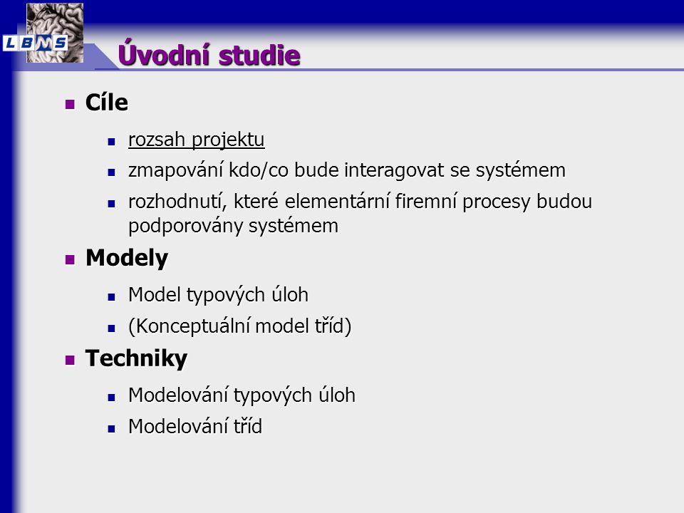10 MODELOVÁNÍ PROCESŮ ÚVODNÍ STUDIE NÁVRH & TVORBA NÁVRH UŽIVATELSKÁ PŘEJÍMKA INSTALACEINSTALACE PLÁNOVÁNÍ PŘÍRŮSTKŮ Analýza NÁVRH TECHNOLOGICKÉ ARCHITEKTURY PROTOTYPPROTOTYP ANALÝZAANALÝZA Model typových úloh Model firemních procesů Model tříd Model interakcí Dynamický model Model typových úloh