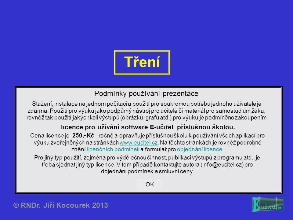 Tření © RNDr. Jiří Kocourek 2013 Podmínky používání prezentace Stažení, instalace na jednom počítači a použití pro soukromou potřebu jednoho uživatele