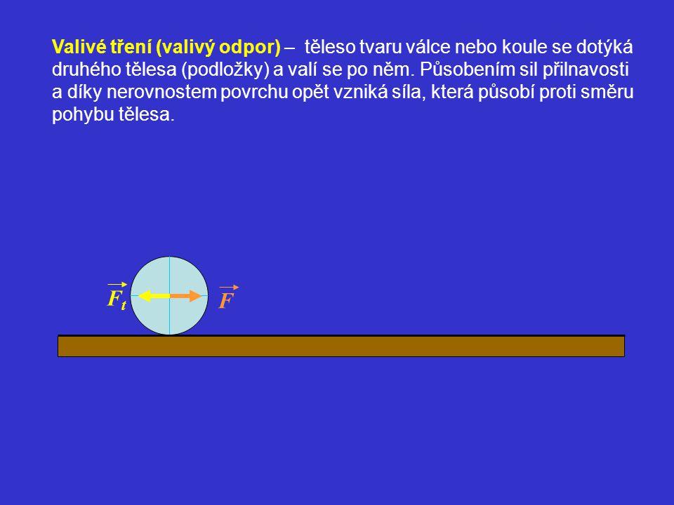 Valivé tření (valivý odpor) – těleso tvaru válce nebo koule se dotýká druhého tělesa (podložky) a valí se po něm. Působením sil přilnavosti a díky ner