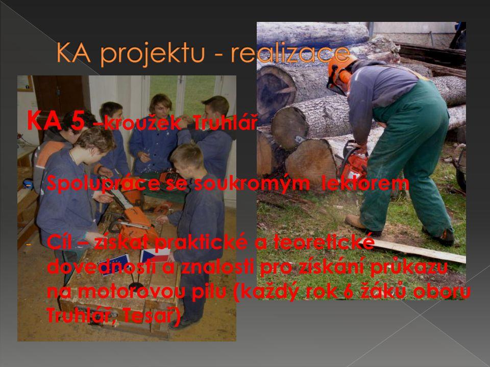 KA 5 –kroužek Truhlář - Spolupráce se soukromým lektorem - Cíl – získat praktické a teoretické dovednosti a znalosti pro získání průkazu na motorovou pilu (každý rok 6 žáků oboru Truhlář, Tesař)