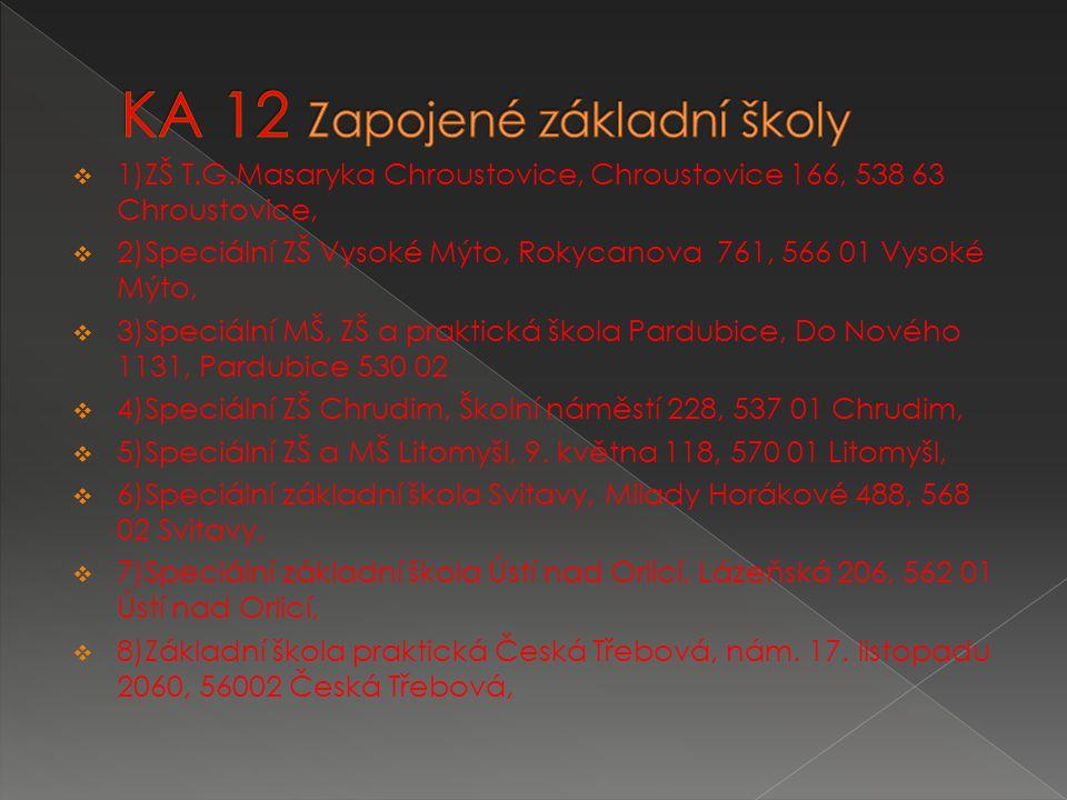  1)ZŠ T.G.Masaryka Chroustovice, Chroustovice 166, 538 63 Chroustovice,  2)Speciální ZŠ Vysoké Mýto, Rokycanova 761, 566 01 Vysoké Mýto,  3)Speciální MŠ, ZŠ a praktická škola Pardubice, Do Nového 1131, Pardubice 530 02  4)Speciální ZŠ Chrudim, Školní náměstí 228, 537 01 Chrudim,  5)Speciální ZŠ a MŠ Litomyšl, 9.