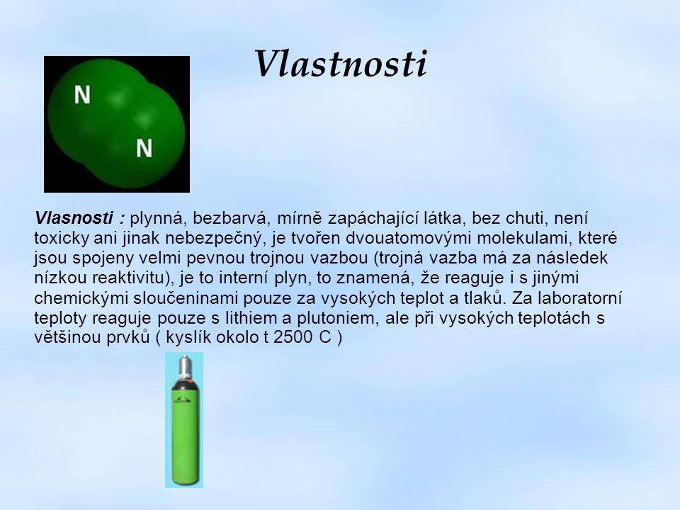 Vlastnosti Vlasnosti : plynná, bezbarvá, mírně zapáchající látka, bez chuti, není toxicky ani jinak nebezpečný, je tvořen dvouatomovými molekulami, kt