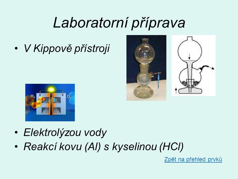 Laboratorní příprava •V Kippově přístroji •Elektrolýzou vody •Reakcí kovu (Al) s kyselinou (HCl) Zpět na přehled prvků