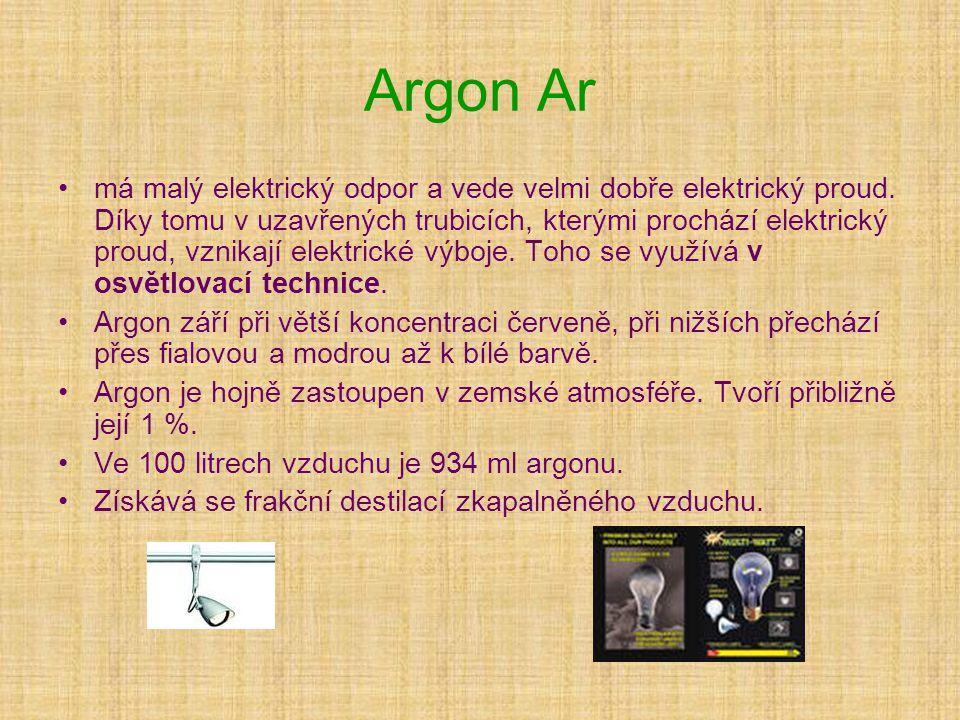 Argon Ar •má malý elektrický odpor a vede velmi dobře elektrický proud. Díky tomu v uzavřených trubicích, kterými prochází elektrický proud, vznikají
