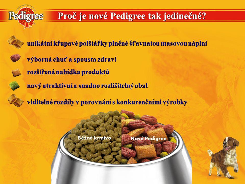 Proč je nové Pedigree tak jedinečné? viditelné rozdíly v porovnání s konkurenčními výrobky rozšířená nabídka produktů výborná chuť a spousta zdraví un