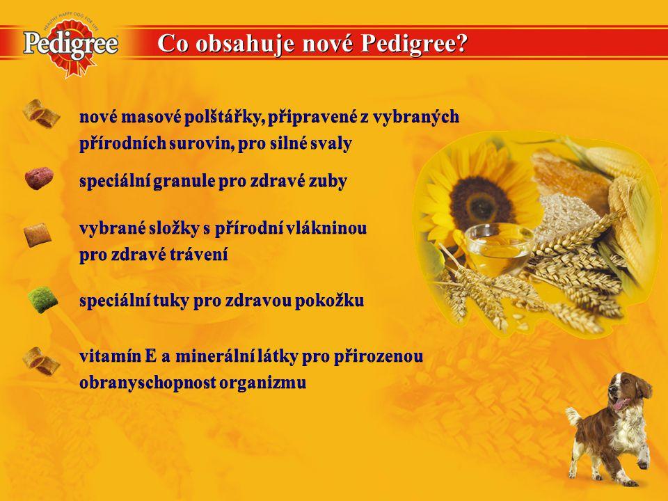 Co obsahuje nové Pedigree? nové masové polštářky, připravené z vybraných přírodních surovin, pro silné svaly nové masové polštářky, připravené z vybra