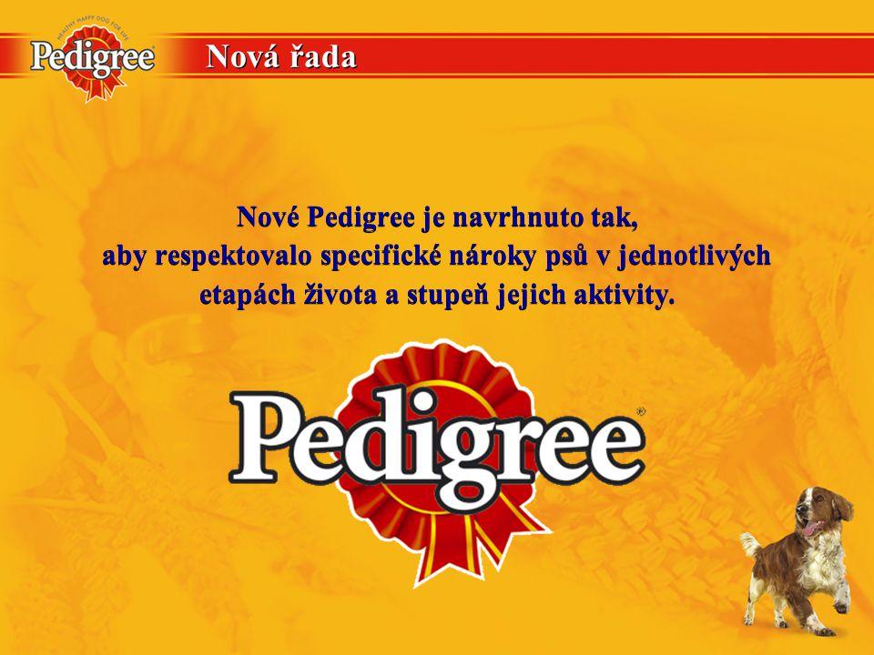 Nová řada Nové Pedigree je navrhnuto tak, aby respektovalo specifické nároky psů v jednotlivých etapách života a stupeň jejich aktivity. Nové Pedigree