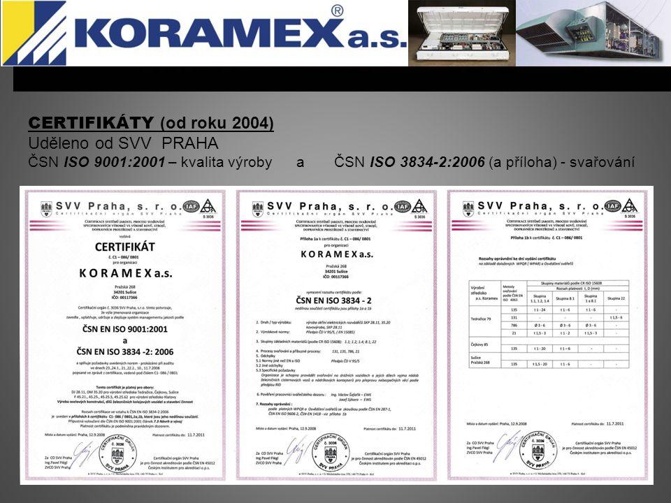 CERTIFICATE (since 2010) Uděleno od SLV HANNOVER Certifikát úrovně CL2 dle DIN EN 15085-2 Strana 1